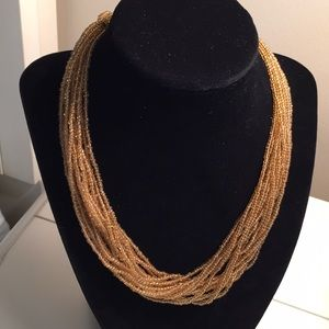 Multi stand seed bead necklace